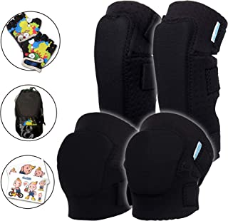 Innovative Soft Kids Knee and Elbow Pads with Bike Gloves - Toddler Protective Gear Set w/Mesh Bag& Sticker CSPC Certified...