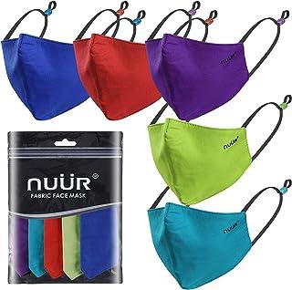 NUÜR Kinder 100% Baumwolle Atmungsaktive Gesichtsmaske 5er-Pack, kontrastierende, verstellbare Ohrschlaufen, 3-lagiger Sch...