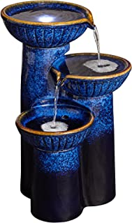 John Timberland 3 Bowl Modern Outdoor Floor Water Fountain with Light LED 26 3/4
