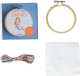 Sirène : Contient : 1 mini-tambour, 6 mètres de fils de coton, 1 toile à broder, 1 aiguille, 1 livre de broderie
