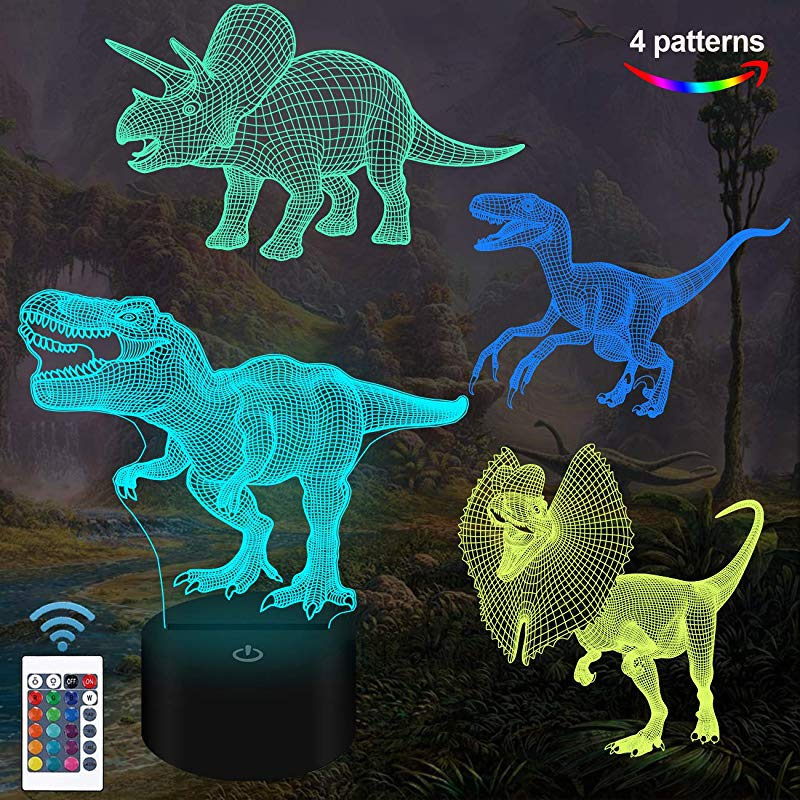 FULLOSUN Dinosaur Toys T Rex Dinosaur 3D Night Light For Kids 4 Patterns With Remote Control 16 Colors Changing Dimmable Function Gift GRAP Xmas Birthday Gifts For Boy Girl Man Child