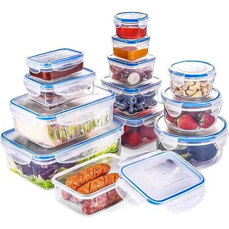 QCen Boîte Alimentaire, Lot de boîte de Conservation Alimentaire Plastique 26 pcs (13récipients+13couvercle) sans BPA, Convient pour allant au congélateur et Four à Micro-Ondes sauf Couvercle
