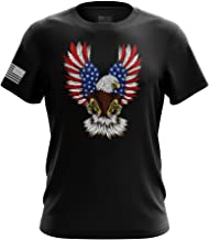 American Eagle California Bear Howling Wolf Military Army Mens T-Shirt Made in USA
