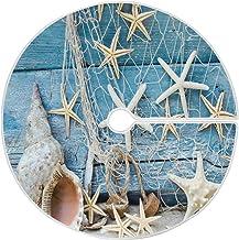 Summer Beach Seashell Starfish Christmas Tree Skirt 35.4 Inches Maritime Net Rustic Blue Wood Shells Xmas Tree Skirts Floo...