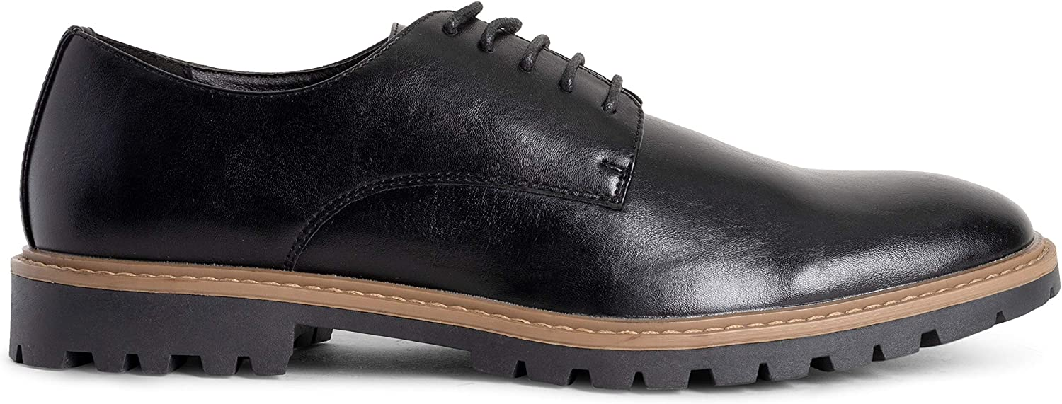 Mens Queesnbury London Derby Office Work Smart Formal Rubber Sole Durable Plain Lace Up Shoes