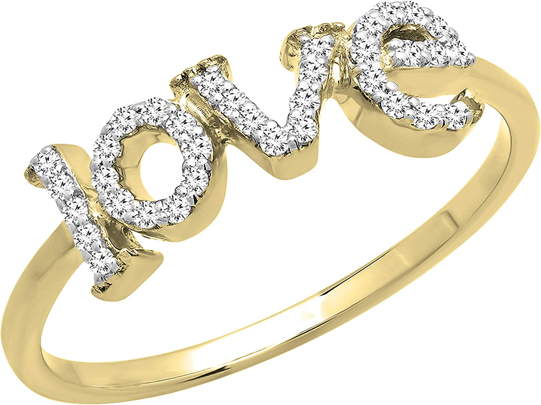Dazzlingrock Collection 0.15 Carat (Ctw) Round White Diamond Ladies Promise Love Engagement Ring, 10K Gold