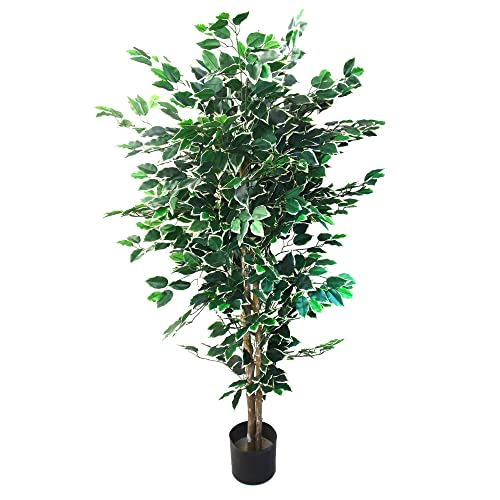 Artificial Ficus Tree With Variegated Leaves And Natural Trunk Beautiful Fake Plant For Indoor