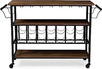 Baxton Studio YLX-9044 Serving-carts, 47.8 x 17.5 x 32, Black