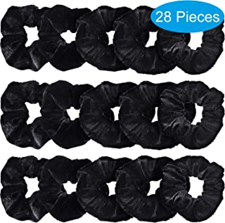 Bememo 28 Pieces Hair Scrunchies for Hair,  Women's Velvet Elastics Scrunchy Bobbles Soft Hair Bands Hair Ties Black Ponytail Holder