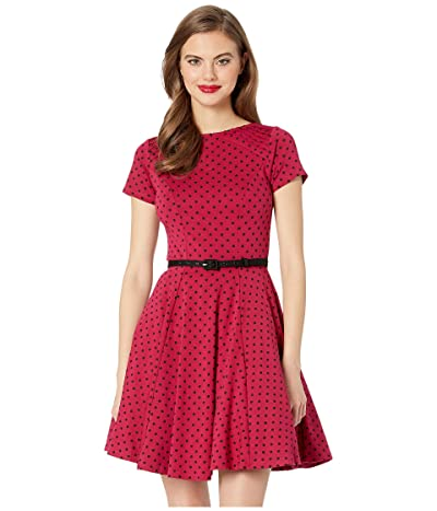 Unique Vintage Short Sleeve Fit Flare Dress (Pink/Black Dot) Women