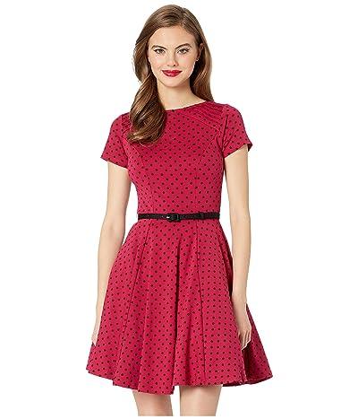 Unique Vintage Short Sleeve Fit Flare Dress (Pink/Black Dot) Women