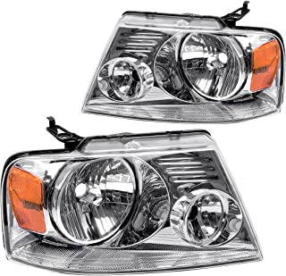 For Ford F150 Pickup 2004-2008 Headlight Chrome Housing Amber Reflector Clear Lens,Passenger & Driver side ATHA0092