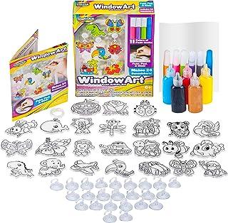 Best Window Paint Art Stickers Kit Kids – Children's Make Your Own Fun Suncatchers Set – [24] Sun Catchers, [24] Suction Cups & [11] Paints – DIY Car Window & Mirror Arts & Crafts Kit Children Review