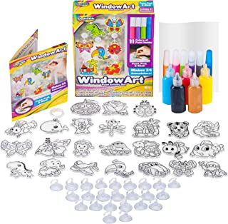 Window Paint Art Stickers Kit Kids – Children's Make Your Own Fun Suncatchers Set – [24] Sun Catchers, [24] Suction Cups & [11] Paints – DIY Car Window & Mirror Arts & Crafts Kit Children