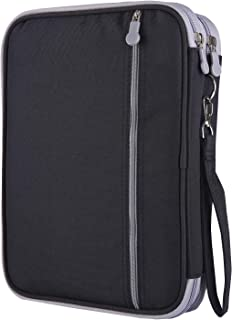 Shulaner Colored Pencil Case Slot Holds 192 Pencils or 144 Gel Pens with Zipper Closure Large Capacity Polyester Pen Organizer for Marker Watercolor Coloring Pencil Gel Pen (Black, 192)