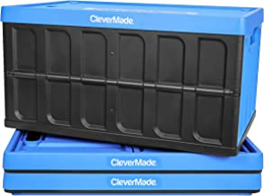 CleverMade 8034119-21843PK 62L Collapsible Storage Bins with Lids - Folding Plastic Stackable Utility Crates, Solid Wall C...