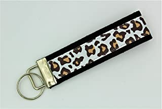Leopard Cheetah Print Ribbon Wristlet Key Fob Keychain White