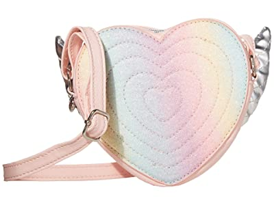 OMG! Accessories Winged Heart Pastel Rainbow Glitter Crossbody Bag (Pink) Handbags
