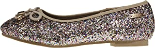 Girls Flats Round Toe Chunky Glitter with Bow and Metallic Logo Hardware Slip-On Shoes Flexible PU Leather