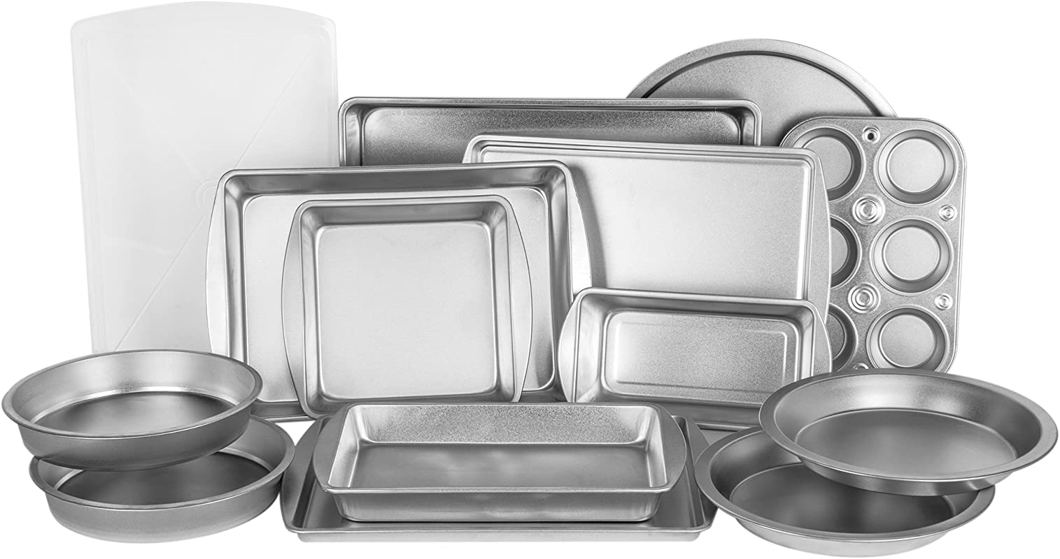 EZ Baker Uncoated Durable Steel Construction 14 Piece Bakeware Set American Made Natural Baking Surface That Heats Evenly For Perfect Baking Results Set Includes All Necessary Pans