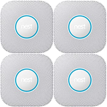 Nest Protect 2nd Generation Smoke/Carbon Monoxide Alarm 4-Pack (S3003LWES Wired Smoke Alarm, White)
