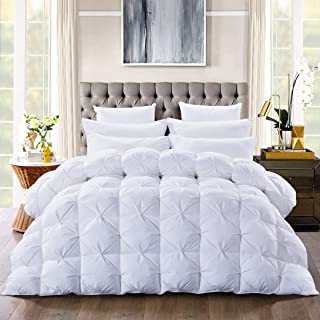Luxurious Goose Down Comforter King Size Duvet Insert, Pinch Pleat Design,750+ Fill Power 65oz Fill Weight, 1200 Thread Count 100% Cotton Shell Hypoallergenic Down Proof with 8 Tabs (Pinch Pleat,King)