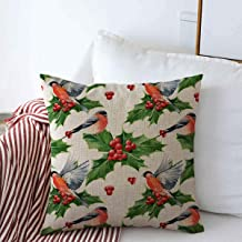 Decorative Square Throw Pillow Covers Holiday Green Berry Watercolor Floral Christmas Holly Pattern Robin Aquarelle Nature Red Bird Botany Cushion Case for Sofa Bedroom Car 16 x 16 Inch
