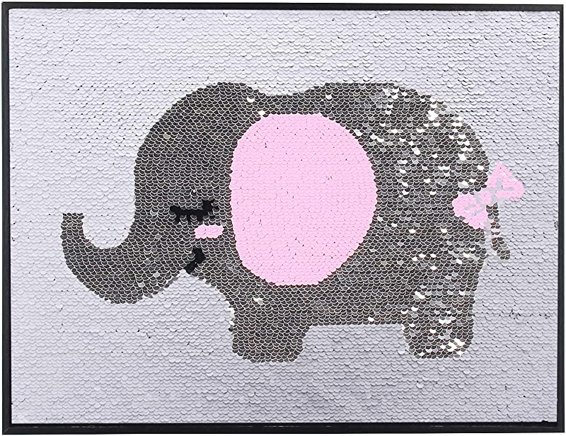 Besutolife Sequins Wall Art Pink Elephant Photo Picture Frame Gift For Women Girls Kids Female Elephant