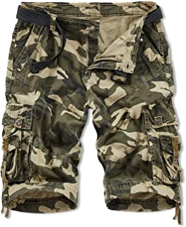 YIXUES Hodzaiw Mens Camo Cargo Shorts Cotton Loose Fit Outdoor Cargo Shorts Lightweight