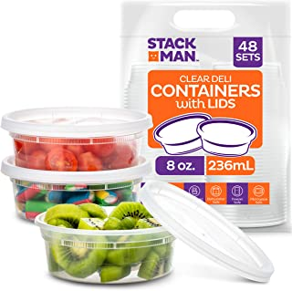 Stack Man [48 Pack, 8 oz] Plastic Deli Food Storage Slime Containers With Airtight Lids, Freezer Safe | Meal Prep | Stacka...