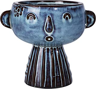 Blue Ceramic Head Planter 7 Inch Face Flower Pot Cute Garden Pot for Succulent Cactus Herbs Plants with Drainage