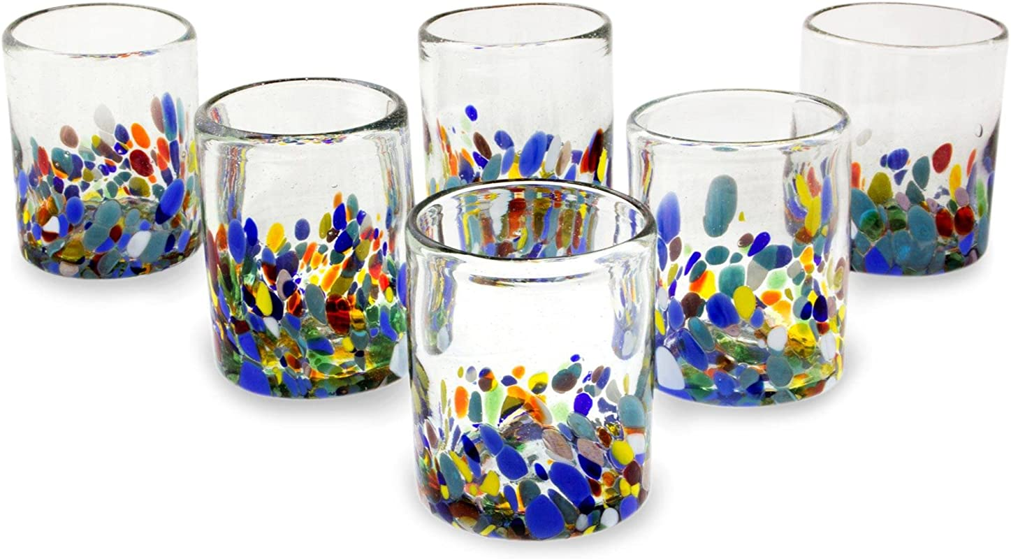 NOVICA Hand Blown Multicolor Recycled Glass Tumbler Glasses 10 Oz Confetti Festival Set Of 6