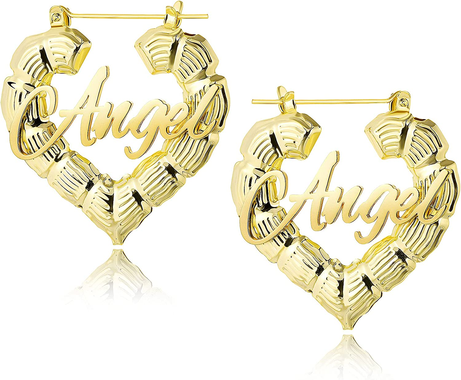 BUREI Personalized Gold Name Hoop Earrings for Women Teen Girls Christmas Halloween Thanksgiving Day 14K Gold Plated Big Bamboo Earrings Fashion Custom Jewelry Unique Gifts