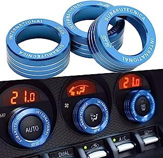 3x 3x AC Knob Control Volume Blue Cover Rings Trim for Subaru BRZ GT86 FT86 FR-S