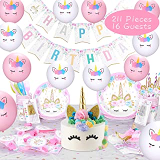 Keemanman Unicorn Party Supplies Kit, 211 PCS Ultimate Unicorn Birthday Party Decorations Set with Gift Box Packing, including Cake Topper, Headband, Swirl Candles, Balloons and More, Favors Serves 16