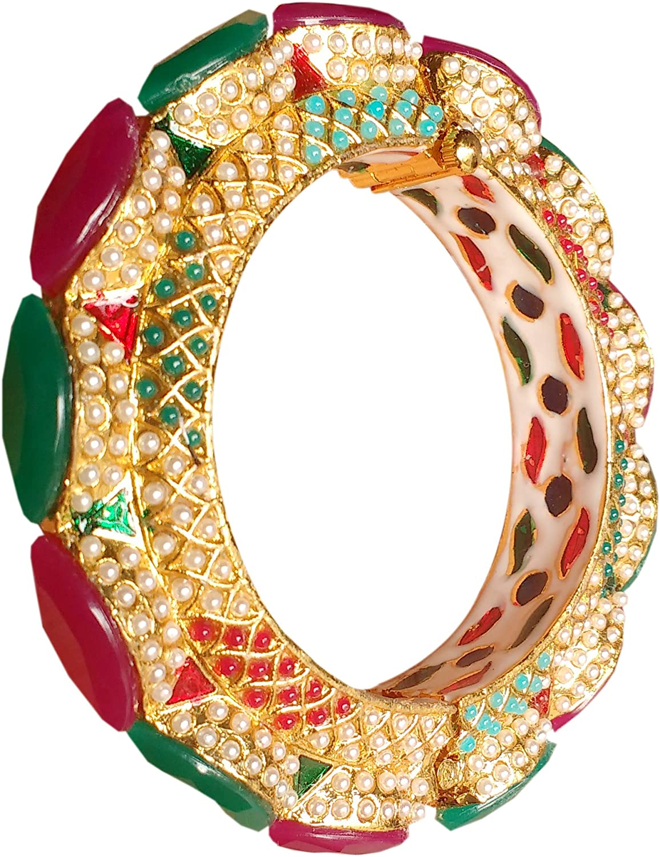 J S JEWEL FASHIONERS 22k Gold Plated Brass Hand Made JADAU KUNDAN MEENAKARI Antique RAJWADA Rajasthani Big Stone Bangle for Women and Girls for Party and Wedding Valentine Gift