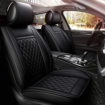 INCH EMPIRE Easy to Clean Car Seat Cover Synthetic Leather Car Seat Cushion - Adjustable Back Universal Fit for Chevrolet Ford Honda Hyundai Kia Toyota Sedan Hatchback SUV Pickup (Black Grid Full Set)
