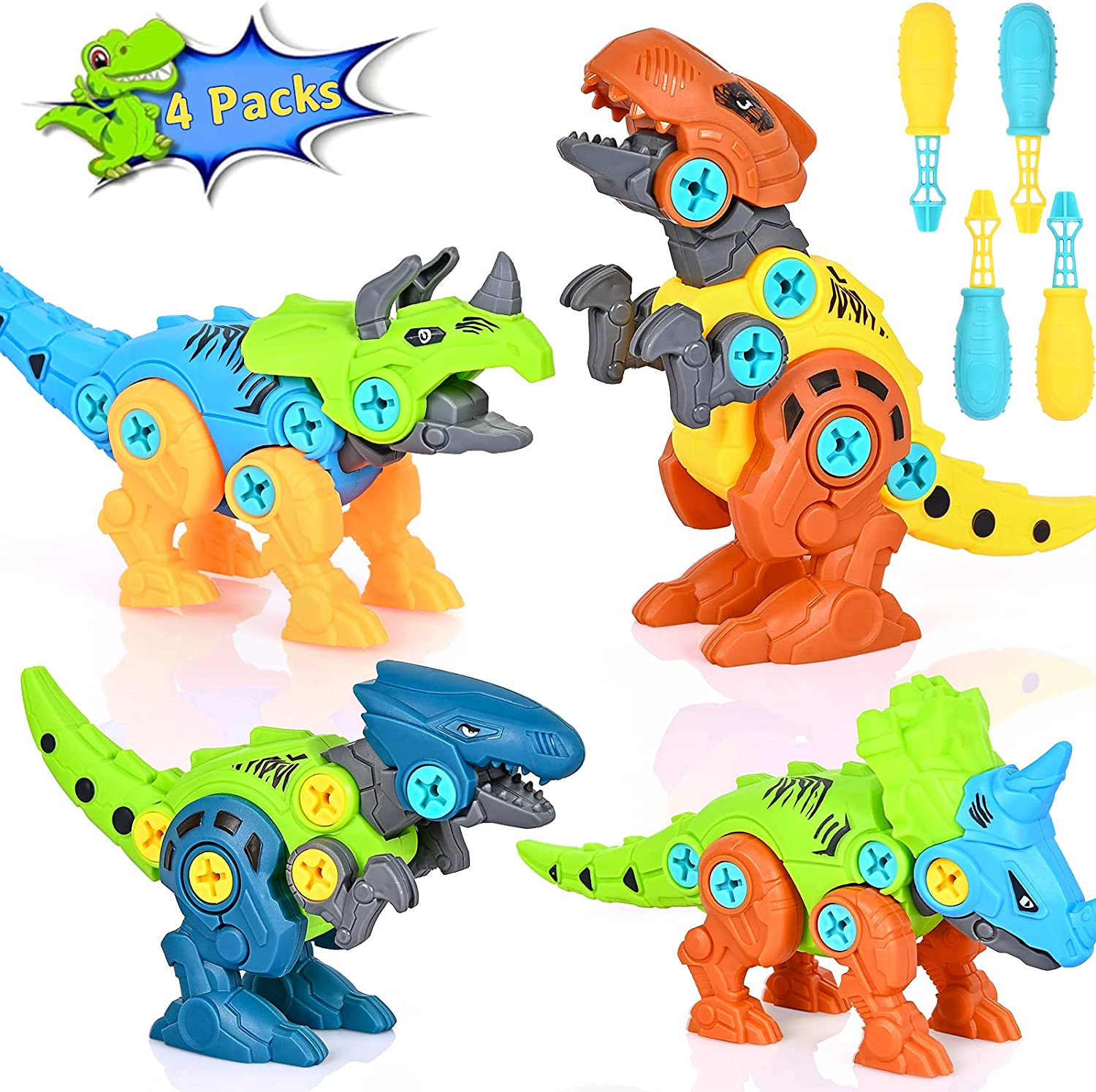 Chak's Choice 4 Packs Take Apart Dinosaur Toys for Boys Building Toys Set with Plastic Screwdriver Construction and Screw Engineering Play Kit Education Toys for Age 3 4 5 6 7 Kids Girls Toddler