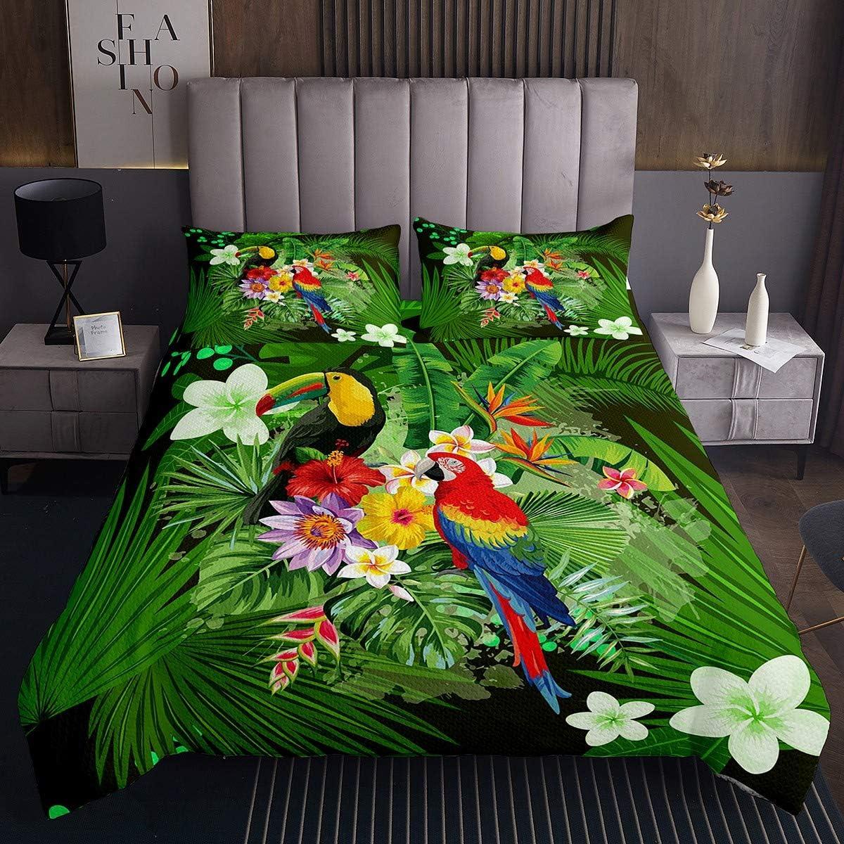 Erosebridal Toucan Bedspread Super popular specialty store King Size Bedding Parrot Set Tropic Direct store