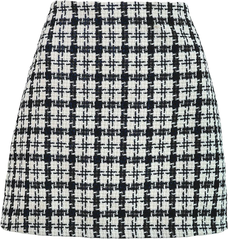 SANGTREE Women's Tartan Plaid High Waist Bodycon Mini Skirt
