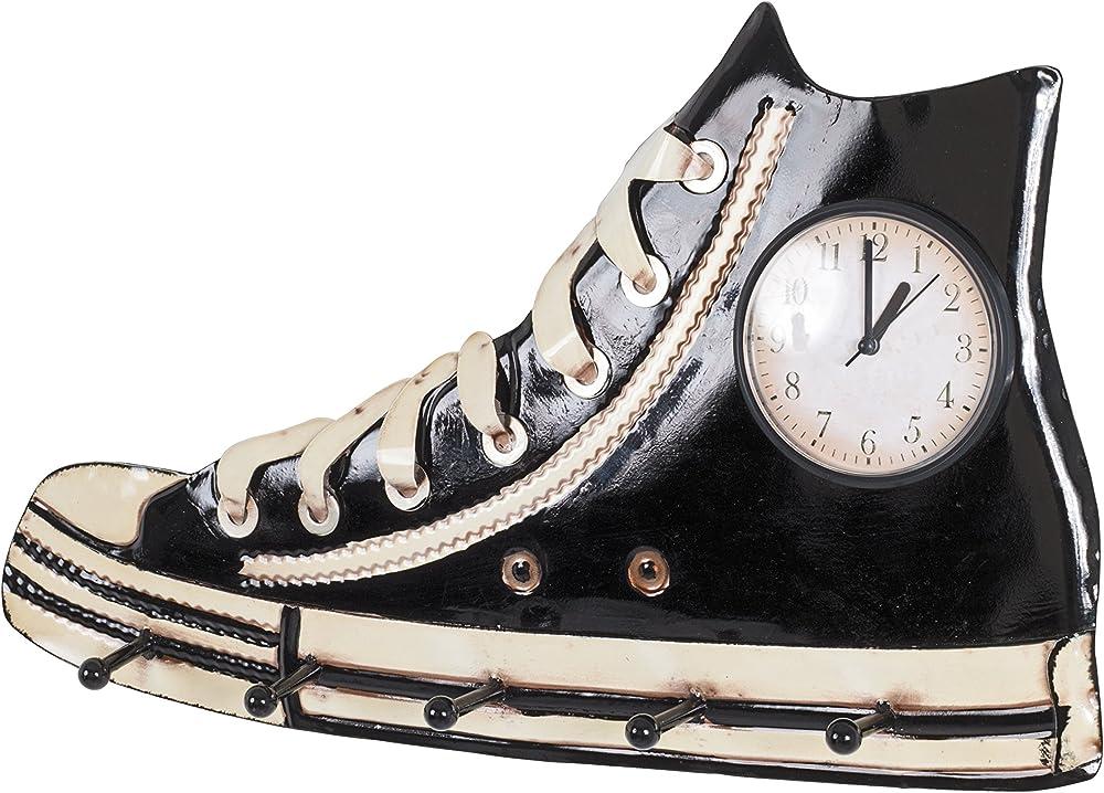 Haku möbel, appendiabiti,in metallo,con 5 ganci guardaroba e orologio integrato 89505