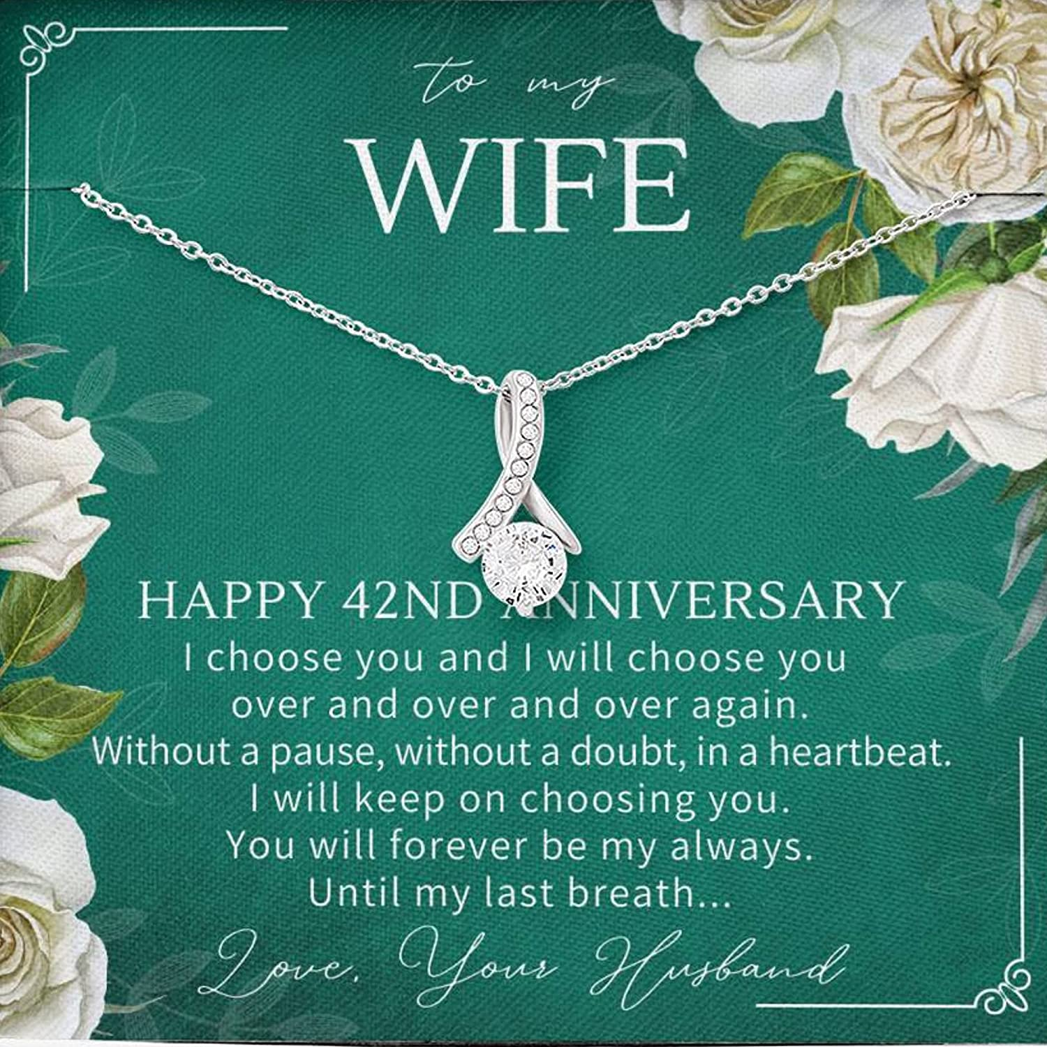42nd Anniversary For Wife - 42 Year Wedding Anniversary Necklace – 42 Year Anniversary Jewelry Gift – 42nd Wedding Gift For Her – AB00042-16