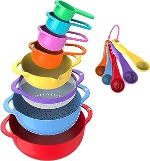 مجموعه کاسه های مخلوط Vremi 13 Piece - کاسه های رنگارنگ آشپزخانه کولرهای مشی با دستگیره فنجان ها و قاشق های اندازه گیری - BPA کاسه های پلاستیکی تودرنگ با Bout آسان قابلمه برای پخت و پز و سایر موارد