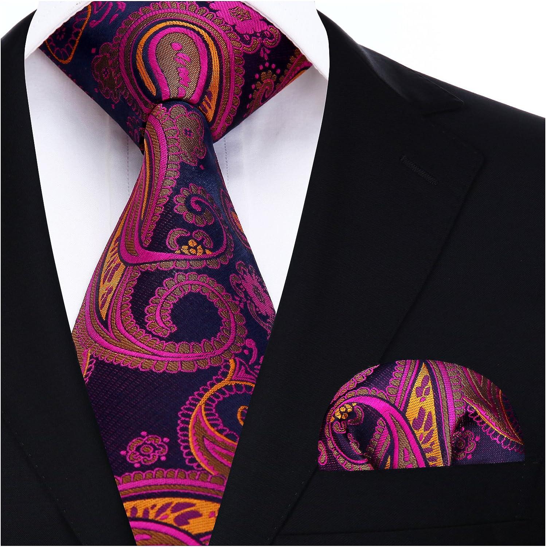 HISDERN Floral Paisley Cravate de mariage fete Mouchoir Cravate des hommes /& Carre de poche Set