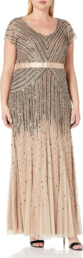 Vintage 1920s Dresses – Where to Buy Adrianna Papell Womens Plus Size Floor Length Beaded Cap Sleeve V-Neck Dress  AT vintagedancer.com