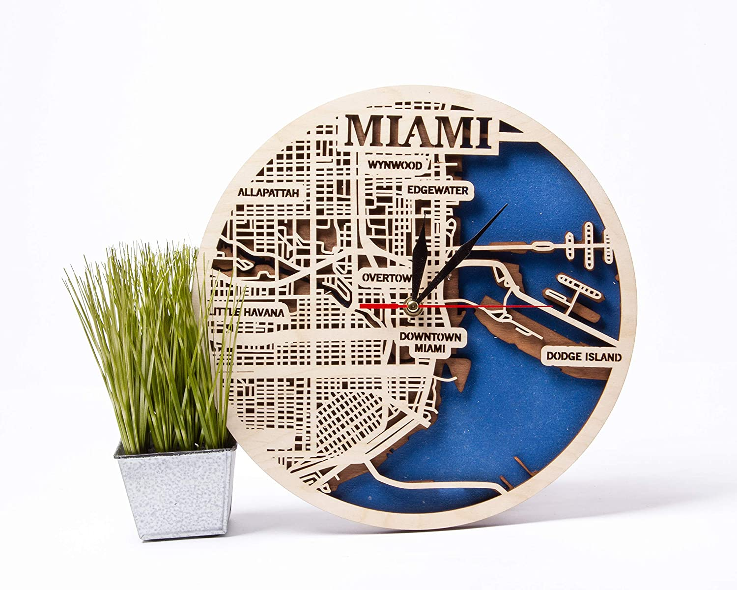 Miami 12 Topics on TV Inch Wooden Clock USA Birthday Decor Woode for Max 46% OFF Gift Man