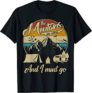 Vintage Retro 80s The Mountains Are Calling & I Must Go Gift T-Shirt