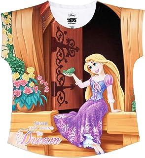 Disney Princess Girls Polyester Round Neck Cap Sleeves Tops - Multicolour (DPS0013)