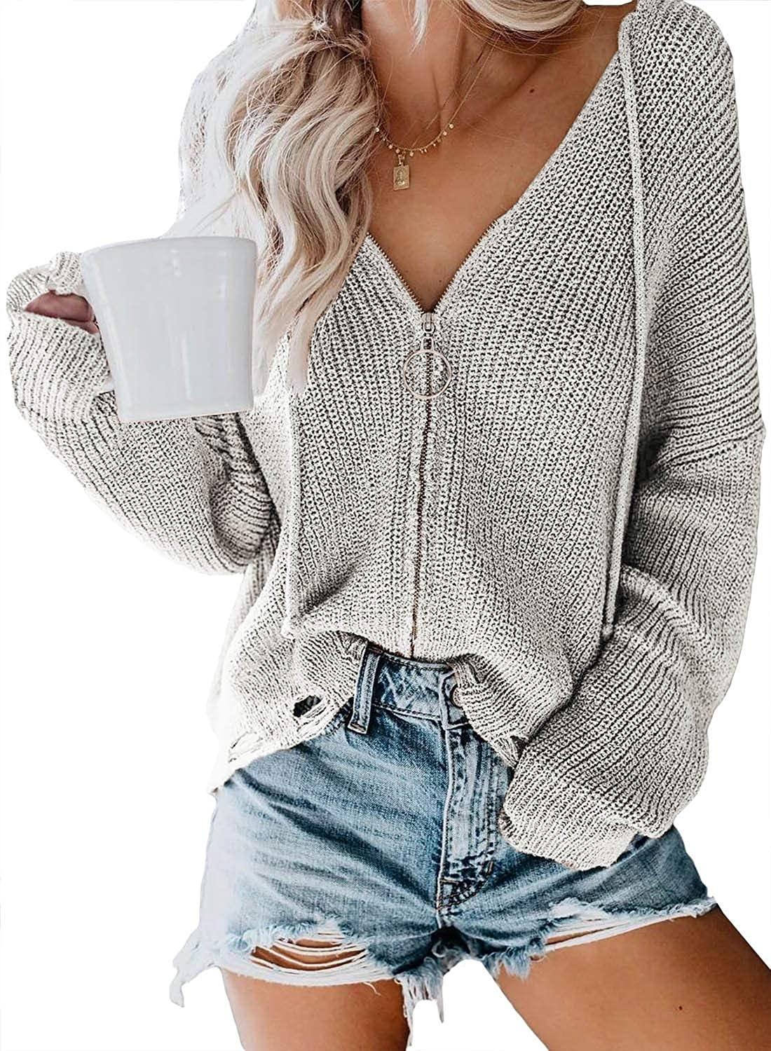 Paitluc Women Hooded Cardigan Sweater Slouchy Knit Jacket Zip Up Lightweight Cute Knitted Coat