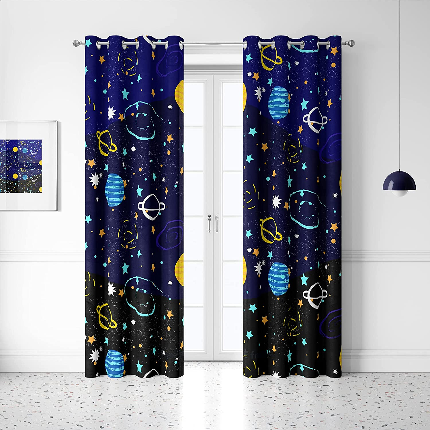 Space Universe Blackout Curtains Online limited product Planets Cosmic Colorful Seattle Mall Cartoon